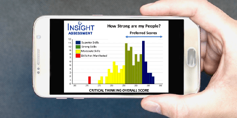 "Hand holding a phone with the image of a histogram showing critical thinking group scores labelled ""How Strong Are My People"""