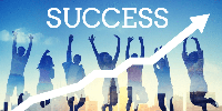 Success shown with upward arrow with background of students jumping in celebration