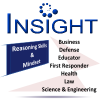 INSIGHT Logo:  critical thinking skills assessments for Business, Health, Defense, Science & Engineering, Law, Educators, First Responders,