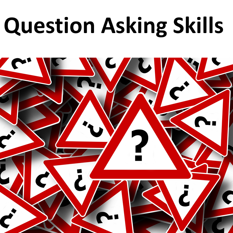 Question Asking skills with photo of red triangles with question mark on them