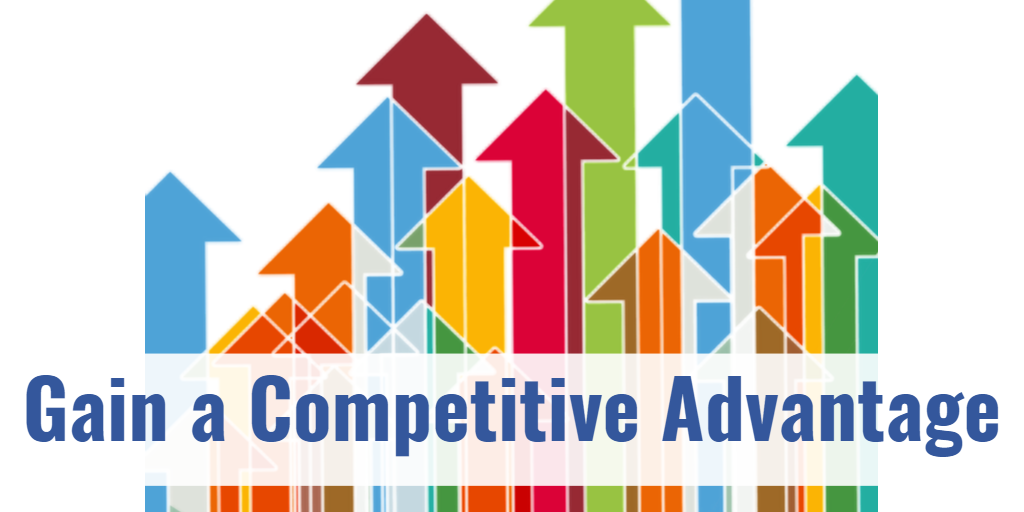 Banner reading Competitive Gain over brightly upward colored arrows