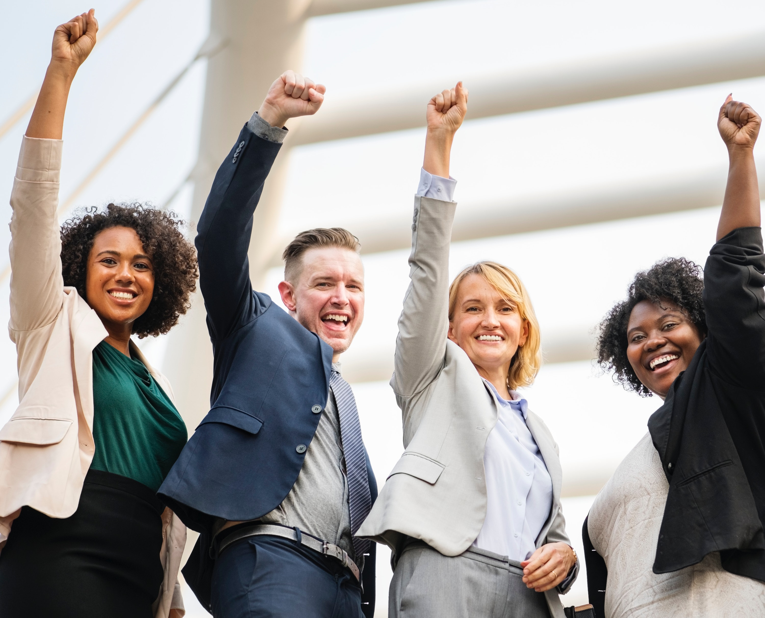 Group of professionals celebrating success